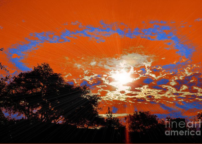 Sun Light Breakthrough Rays Clouds Sky Abstract Contrast Trees Blue Orange Bright White Red Photo Sunray Sunburst Nature Greeting Card featuring the photograph Sunburst by RJ Aguilar