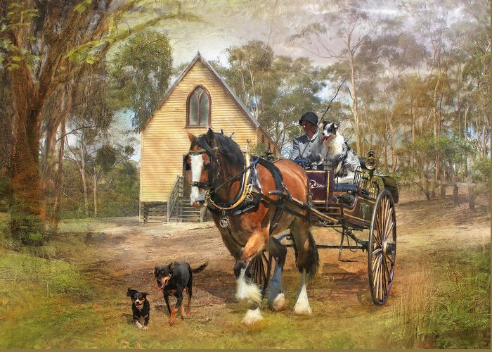 Dog Greeting Card featuring the digital art Sunday Driver by Trudi Simmonds