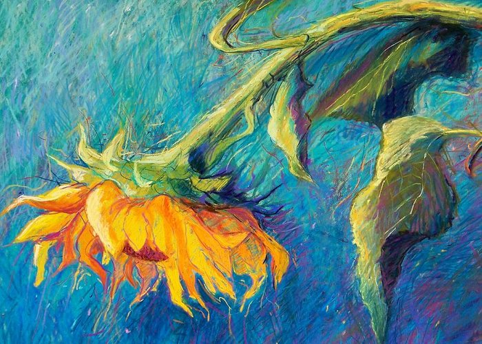 Sunflower Greeting Card featuring the pastel Sunflower by Candy Mayer