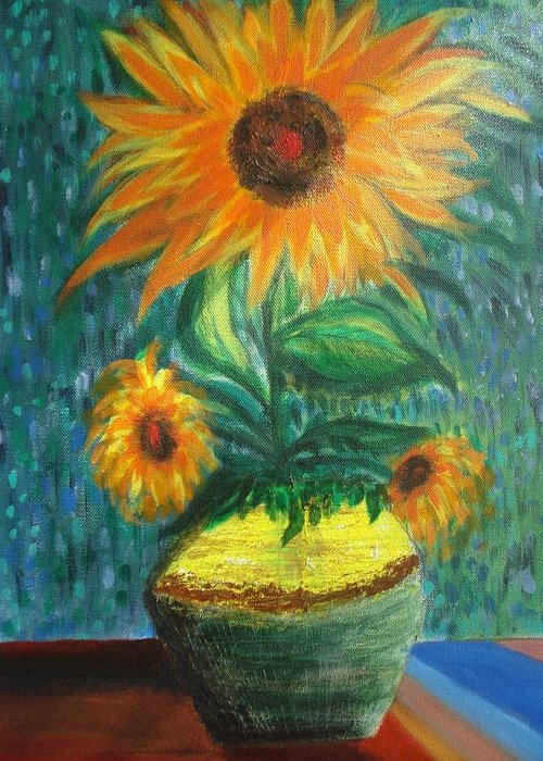 Vase Greeting Card featuring the painting Sunflower In A Vase by Prasenjit Dhar
