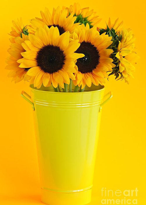 Vase Greeting Card featuring the photograph Sunflowers In Vase by Elena Elisseeva