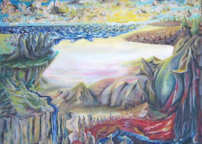 Surrealism Greeting Card featuring the painting Sunny Side Up Down The River by Timothy Foley