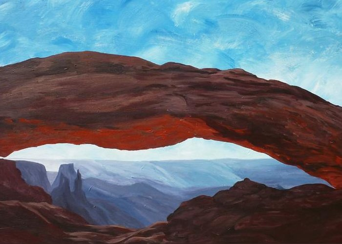 Canyonlands Greeting Card featuring the painting Sunrise At Mesa Arch by Estephy Sabin Figueroa