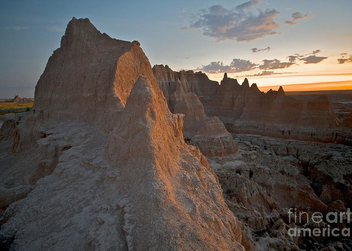 Badlands National Park Greeting Card featuring the photograph Sunrise In Badlands by Chris Brewington Photography LLC
