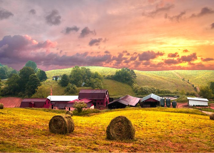 Barn Greeting Card featuring the photograph Sunrise Pastures by Debra and Dave Vanderlaan