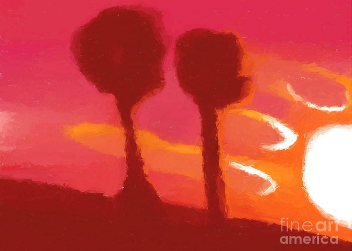 Sunset Greeting Card featuring the painting Sunset Abstract Trees by Pixel Chimp
