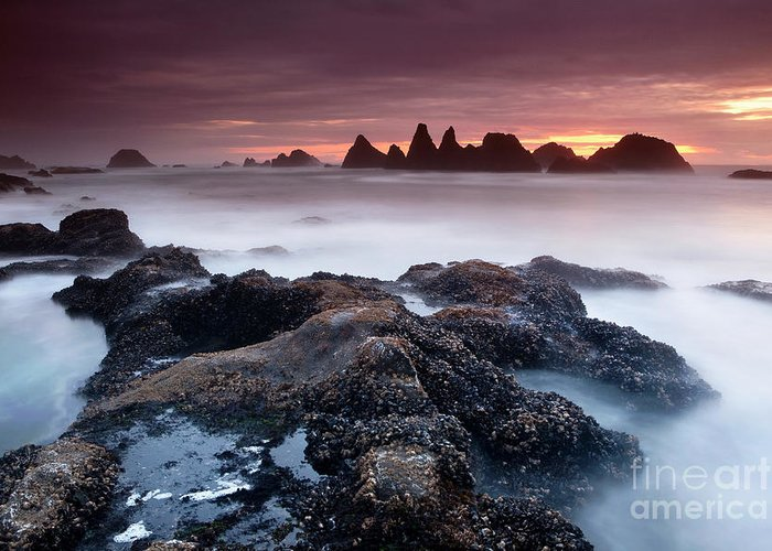 Water Photography Greeting Card featuring the photograph Sunset At Seal Rock by Keith Kapple