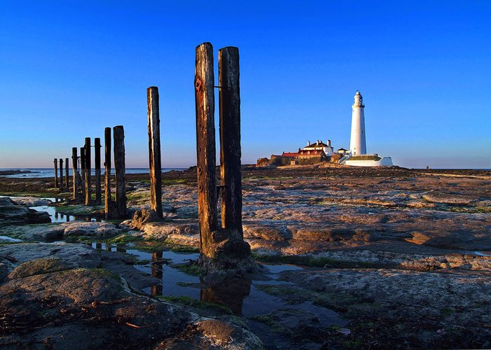 Landscape Greeting Card featuring the photograph Sunset At St. Mary's Lighthouse by Michael Oakes