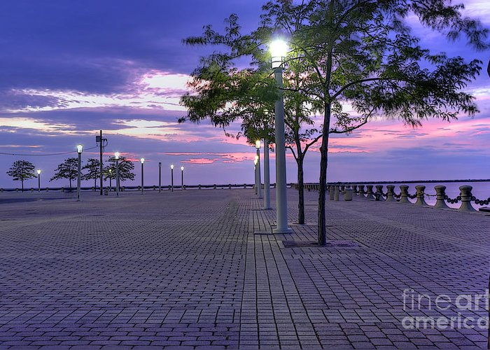 Rock And Roll Hall Of Fame Plaza Greeting Card featuring the photograph Sunset At The Plaza by David Bearden