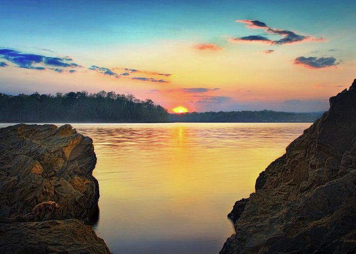 Tennessee River Greeting Card featuring the photograph Sunset Between The Rocky Shore by Steven Llorca