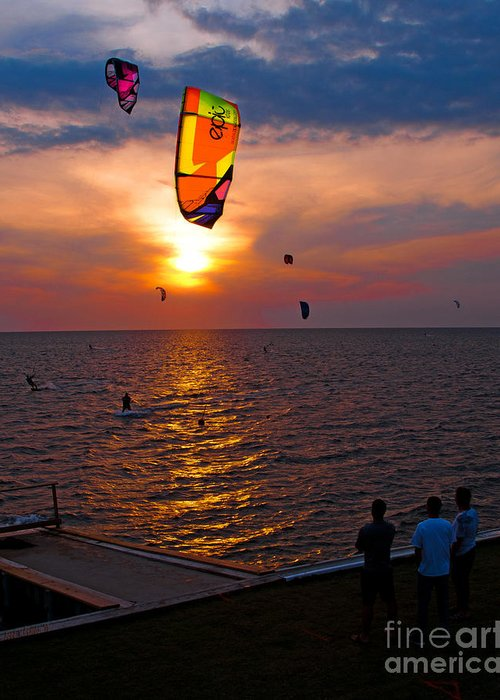 Kites Greeting Card featuring the photograph Sunset Kiteboarding On The Pamlico Sound by Anne Kitzman