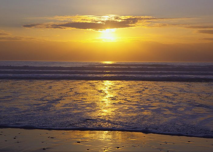 Beauty In Nature Greeting Card featuring the photograph Sunset Over The Pacific Ocean Along The by Craig Tuttle