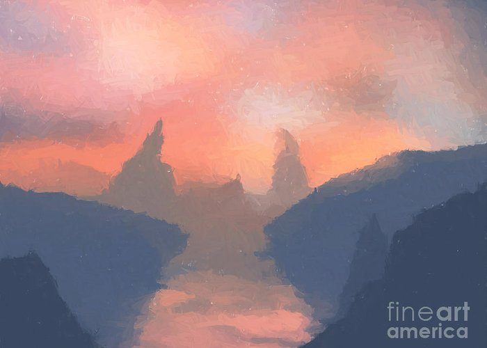 Fantasy Art Greeting Card featuring the painting Sunset Valley by Pixel Chimp