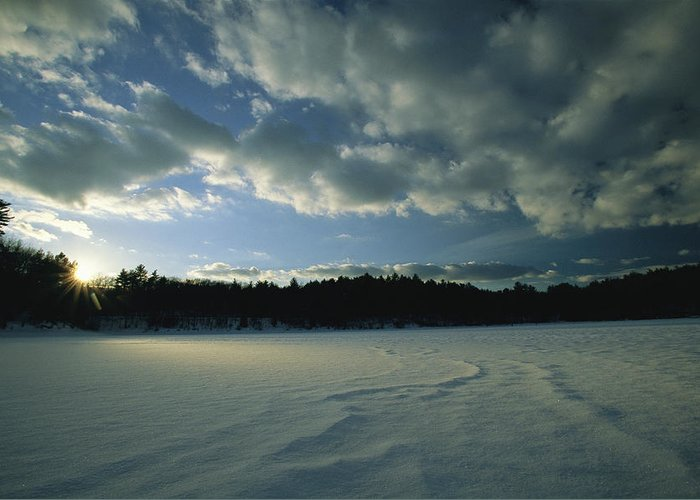 Outdoors Greeting Card featuring the photograph Sunset Viewed From The Frozen Surface by Tim Laman