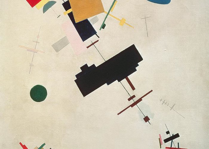 Suprematisme; Suprematism; Abstract; Constructivist; Geometric Greeting Card featuring the painting Suprematist Composition No 56 by Kazimir Severinovich Malevich