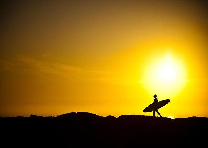 Sunrise Greeting Card featuring the photograph Surfer's Dawn by Zarija Pavikevik