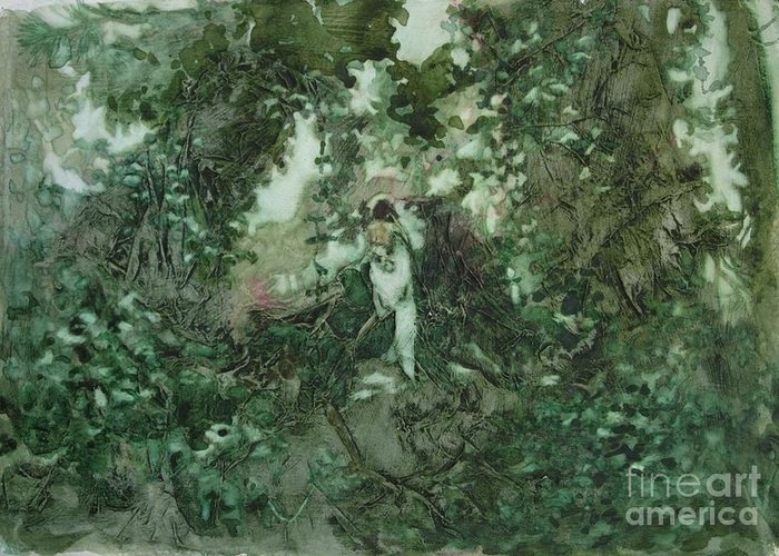 Kudzu Greeting Card featuring the painting Surprised Bather by Elizabeth Carr