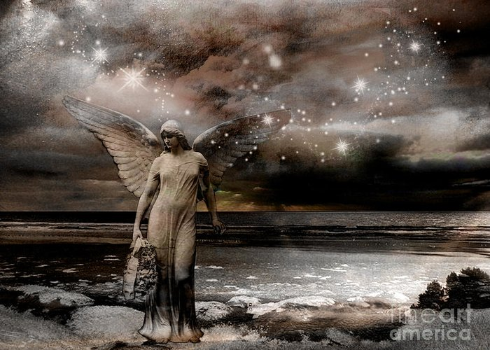 Angel Art Photos Greeting Card featuring the photograph Surreal Fantasy Celestial Angel With Stars by Kathy Fornal