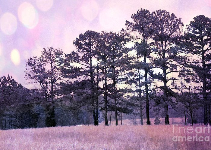 Surreal Nature Photos Greeting Card featuring the photograph Surreal Fantasy Nature Purple Trees Landscape by Kathy Fornal