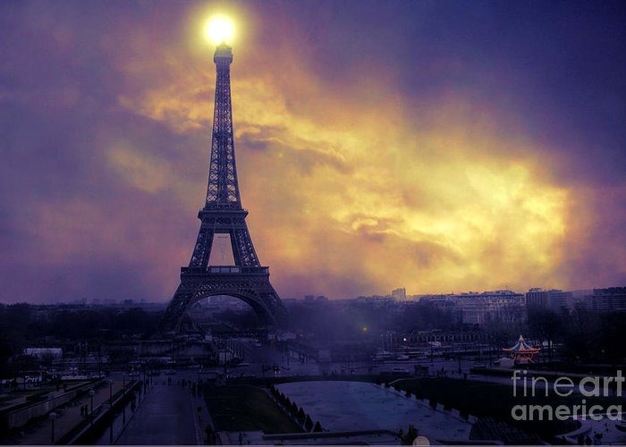 Paris Eiffel Tower Prints Greeting Card featuring the photograph Surreal Fantasy Paris Eiffel Tower Sunset Sky Scene by Kathy Fornal
