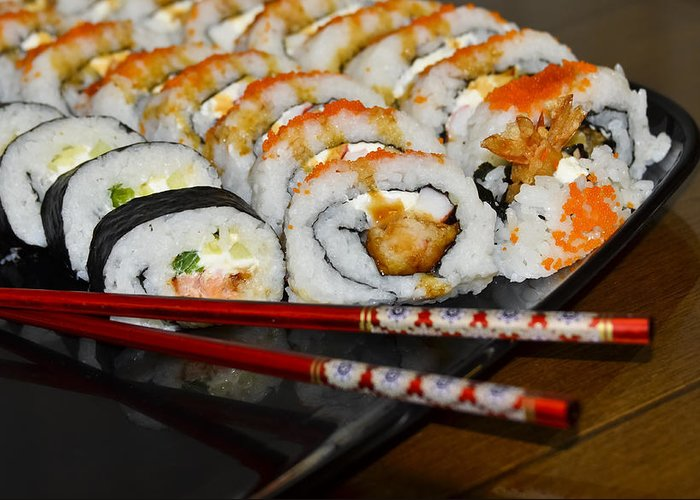 Chop Sticks Greeting Card featuring the photograph Sushi And Chopsticks by Carolyn Marshall