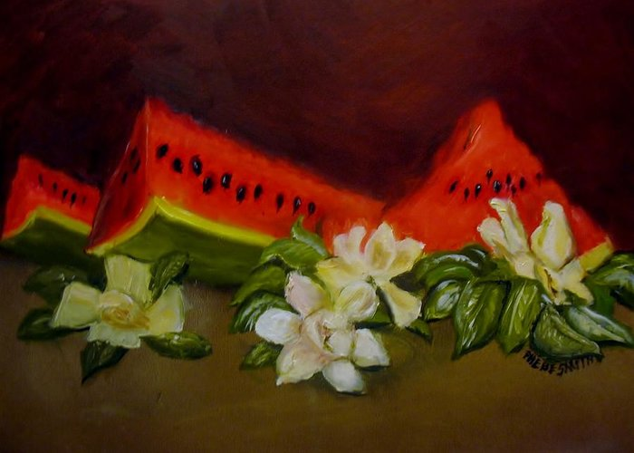 Watermelons Greeting Card featuring the painting Sweet And Delicate by Phebe Smith
