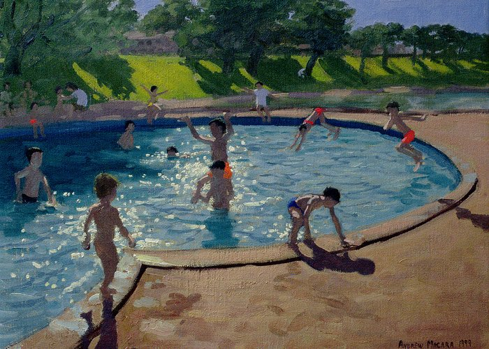 Summer Greeting Card featuring the painting Swimming Pool by Andrew Macara