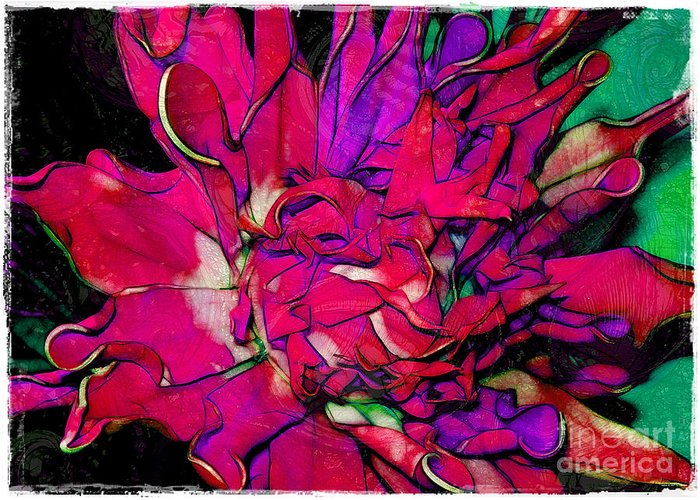 Fabric Greeting Card featuring the photograph Swirly Fabric Flower by Judi Bagwell