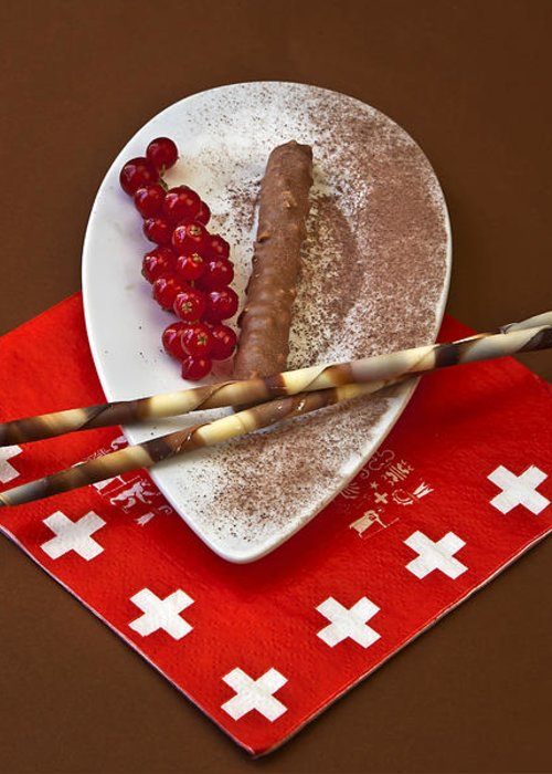 Chocolate Greeting Card featuring the photograph Swiss Chocolate Praline by Joana Kruse