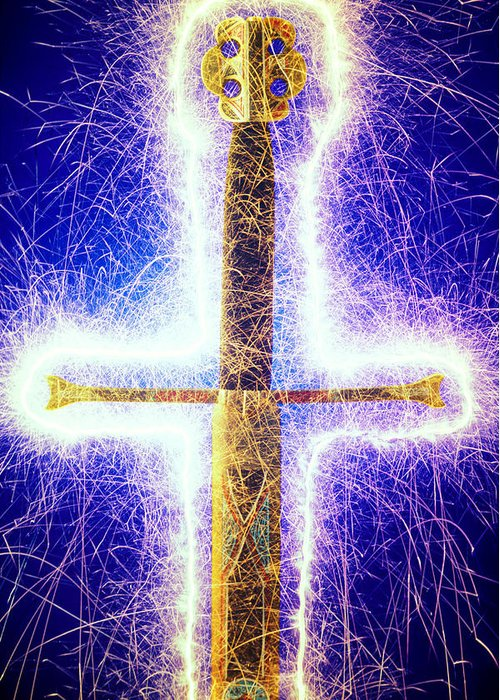 Sword Sparks Weapon Greeting Card featuring the photograph Sword With Sparks by Garry Gay