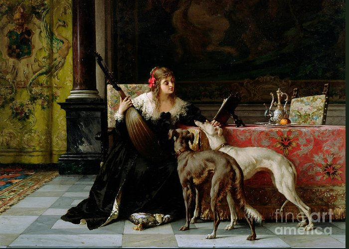 Greyhounds Affection Greeting Card featuring the painting Sympathetic Friends by Florent Willems