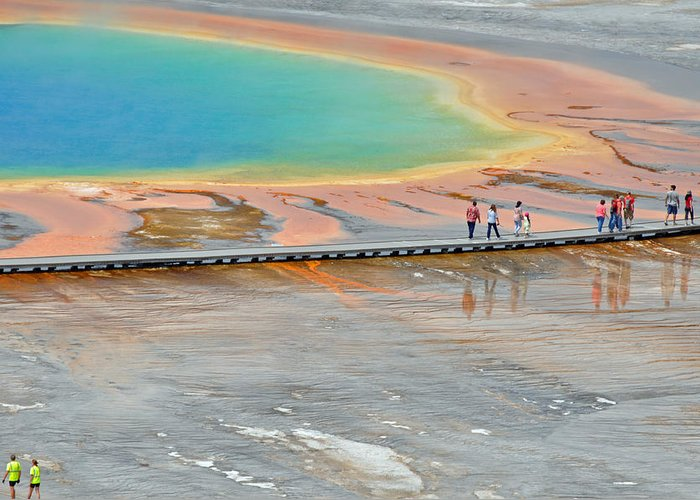 Yellowstone Greeting Card featuring the photograph Taking A Stroll At Yellowstone's Grand Prismatic by Bruce Gourley