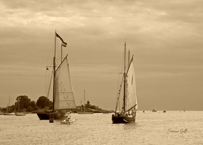 Tall Ships Greeting Card featuring the photograph Tall Ships Sailing In Sepia by Suzanne Gaff