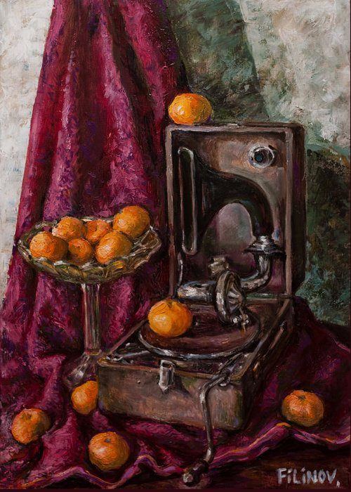 Tangerines Greeting Card featuring the painting Tangerines by Boris Filinov