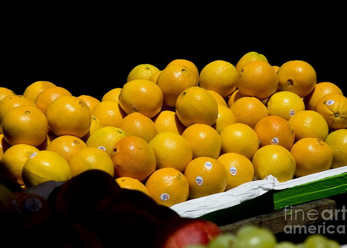 Organic Greeting Card featuring the photograph Tangerines For Sale by Tim Mulina