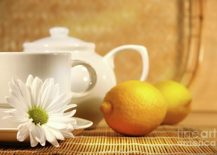 Beverage Greeting Card featuring the photograph Tea And Lemon by Sandra Cunningham