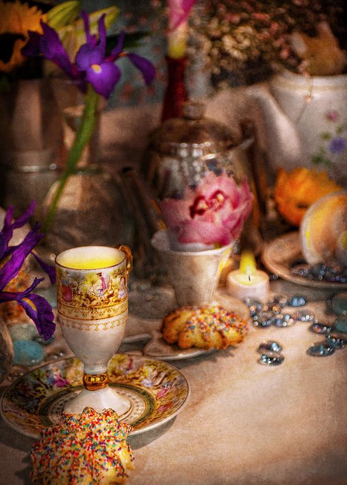 Tea Greeting Card featuring the photograph Tea Party - The Magic Of A Tea Party by Mike Savad