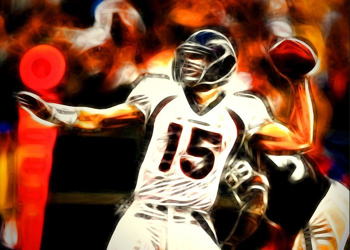 Tim Tebow Greeting Card featuring the painting Tebow by Paul Van Scott