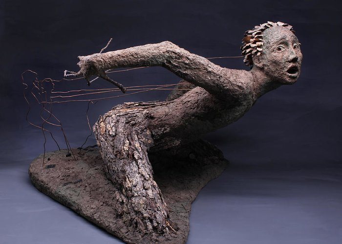 Art; Adam Long; Adam; Long;sculpture;nature Art; Environmental Art;nature;natural;environment;environmental; Green;surreal Surrealism;surrealist;fantasy;brown;figure; Human; Person; Portrait; Face; Portraits;tree;stick;branch; Texture;lichen;rough;bark;movement;dance;move;lift; Attack; Probe; Power; Pornography; Porn; Evil; Fear; Scare; Scary; Copper;assemblage;danger;fungus;background; Pose; Man; Woman;female;male;surrealistic;fantastic;ent;ents;lord Of The Rings;tolkien;porn Greeting Card featuring the sculpture Technological Advances by Adam Long