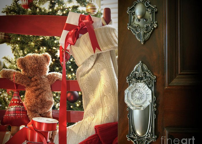 Background Greeting Card featuring the photograph Teddy Waiting For Christmas Time by Sandra Cunningham