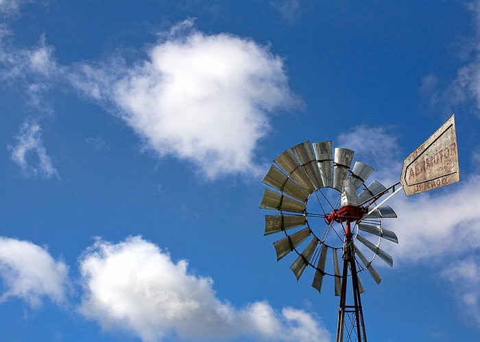Clouds Greeting Card featuring the photograph Temecula Wine Country Windmill by Peter Tellone