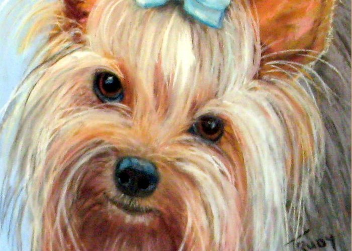Yorkshire Terrier Greeting Card featuring the painting Tessa by Trudy Morris