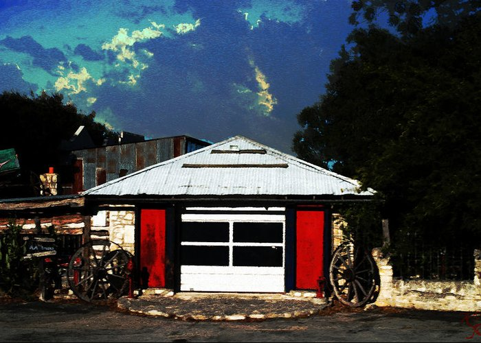 Kelly Rader Greeting Card featuring the photograph Texas Garage by Kelly Rader