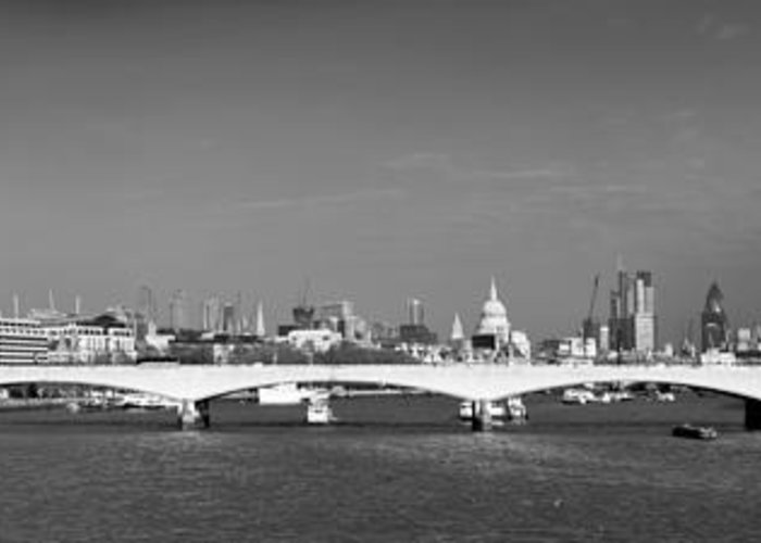 Cleopatra's Needle Greeting Card featuring the photograph Thames Panorama Weather Front Clearing Bw by Gary Eason