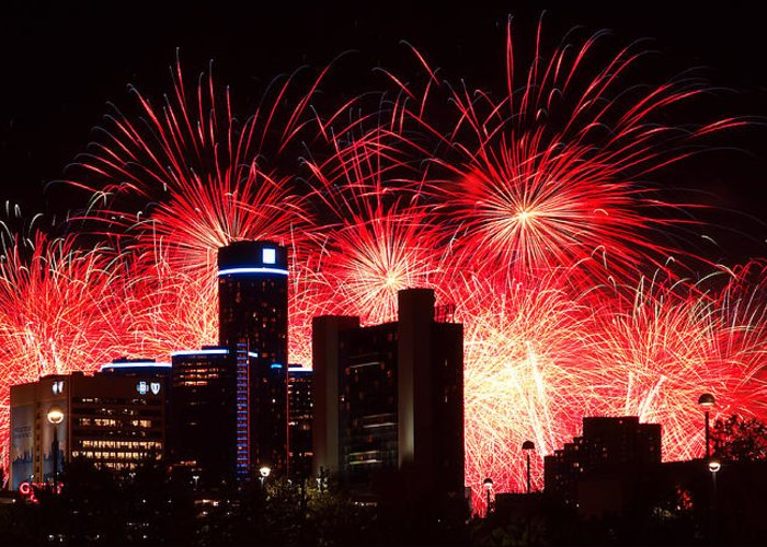 The Greeting Card featuring the photograph The 54th Annual Target Fireworks In Detroit Michigan - Version 2 by Gordon Dean II