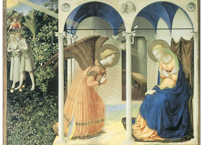 Fra Angelico Greeting Card featuring the painting The Annunciation by Fra Angelico