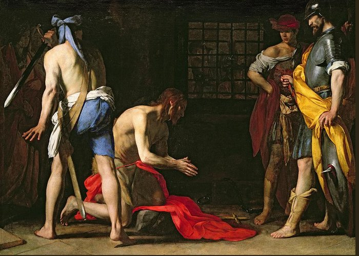 The Beheading Of John The Baptist Greeting Card featuring the painting The Beheading Of John The Baptist by Massimo Stanzione