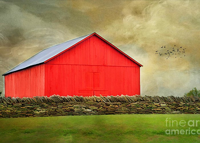Agriculture Greeting Card featuring the photograph The Big Red Barn by Darren Fisher