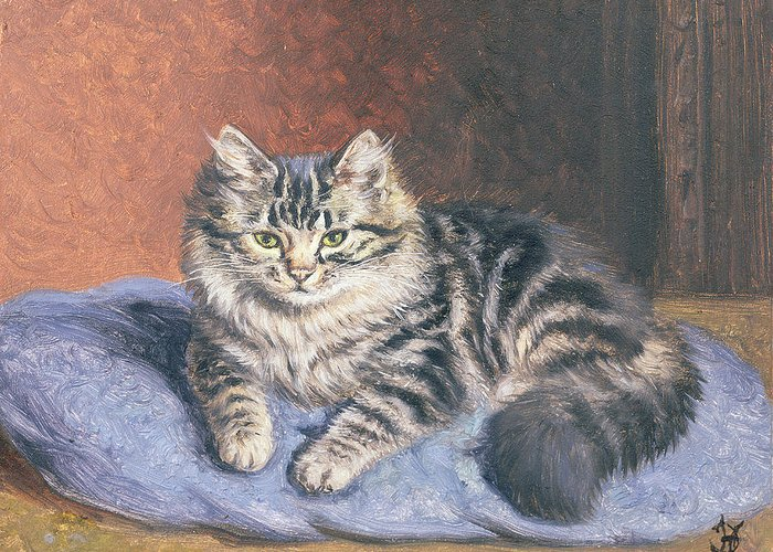Cat; Seated; Resting; Tabby; Pet; Cats Greeting Card featuring the painting The Blue Cushion by Horatio Henry Couldery