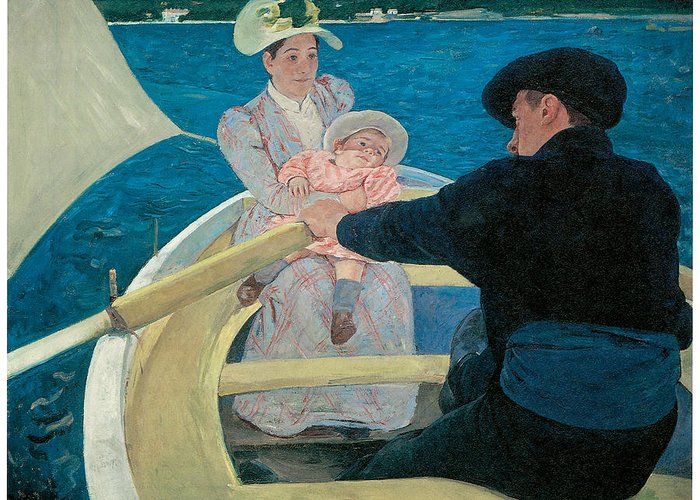Mary Cassatt Greeting Card featuring the painting The Boating Party by Mary Cassatt